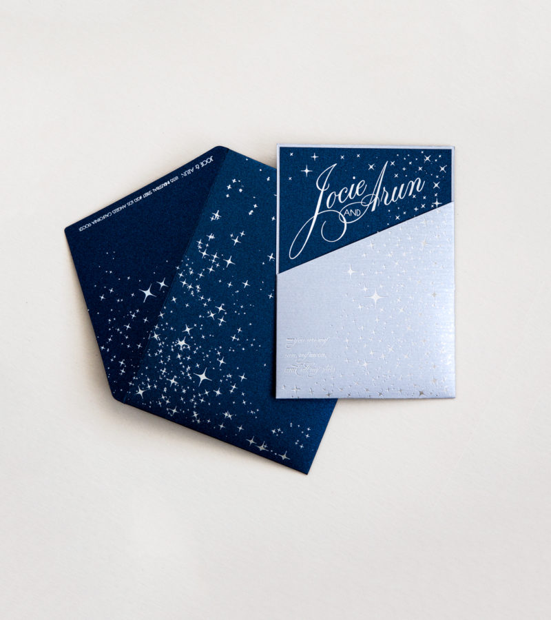 starry night themed invitation with silver foil pressed envelope custom lasercut monogram, printed hindu wedding program with elephants, laser cut table numbers | AZURE