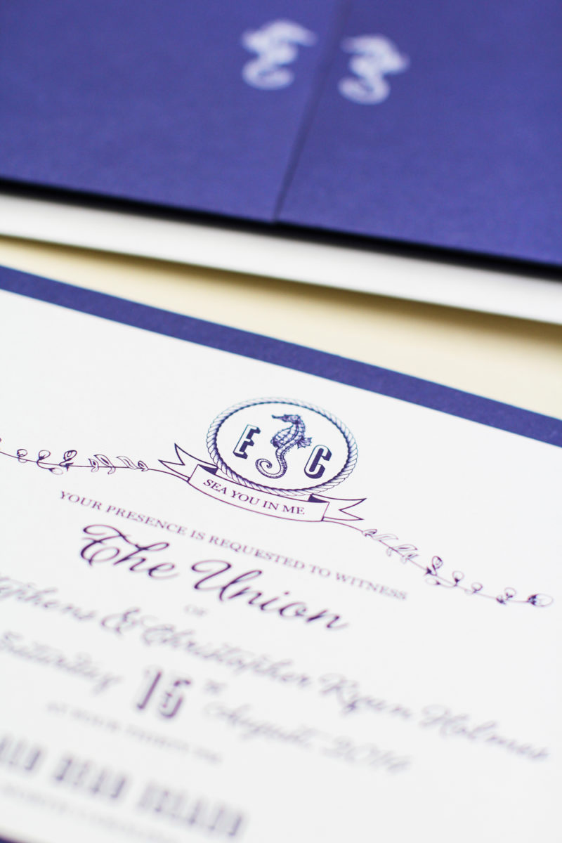 navy gatefold nautical invitation