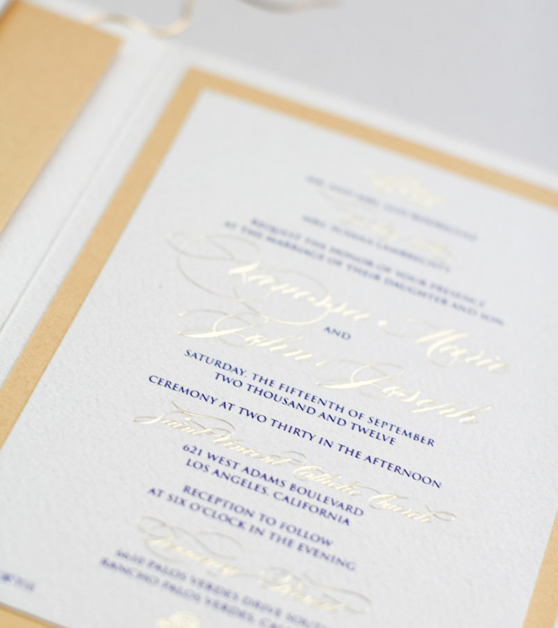 gold foil and navy on cream shimmer