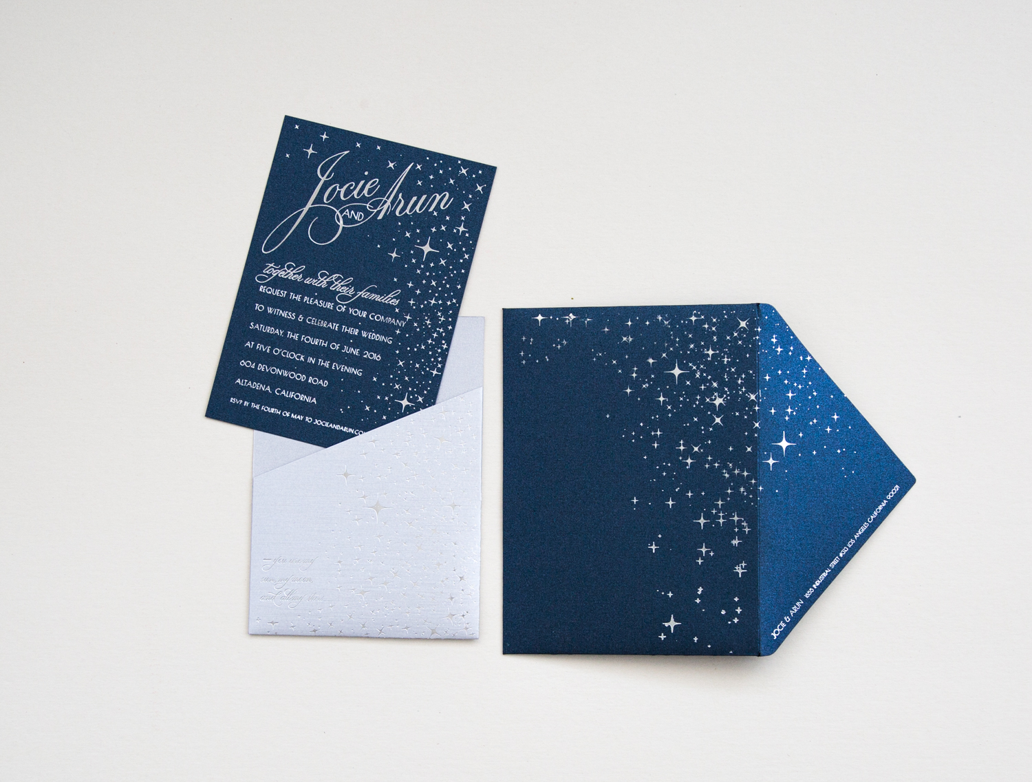 navy shimmer invitation in silver pocket custom lasercut monogram, printed hindu wedding program with elephants, laser cut table numbers | AZURE