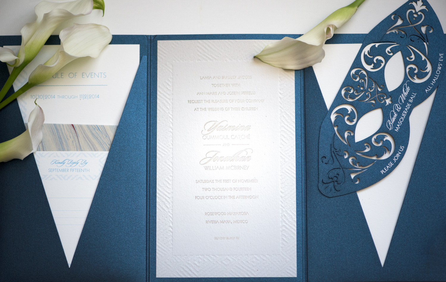 deep blue shimmer tuxedo cut folio, mayan inspired design