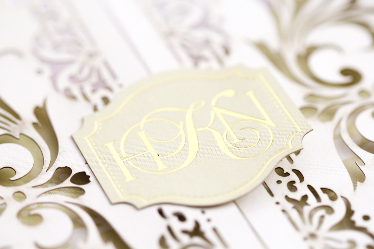 custom gold foil monogram in traditional style