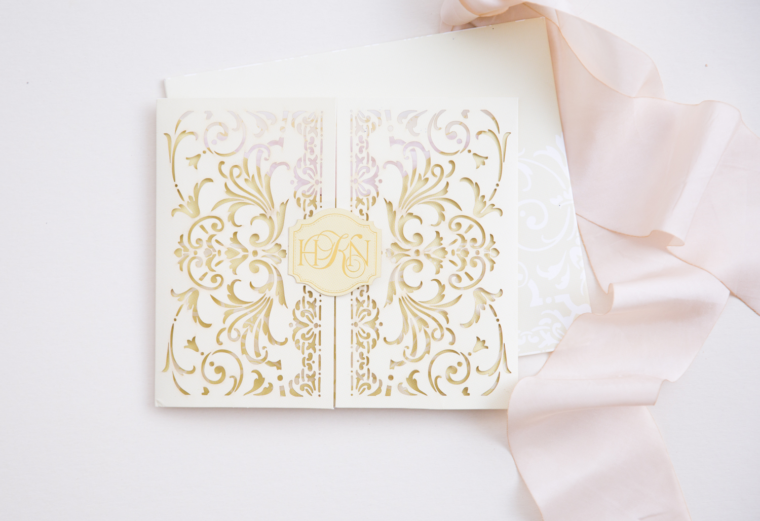 elegant vintage stencil invitations with classic monogram