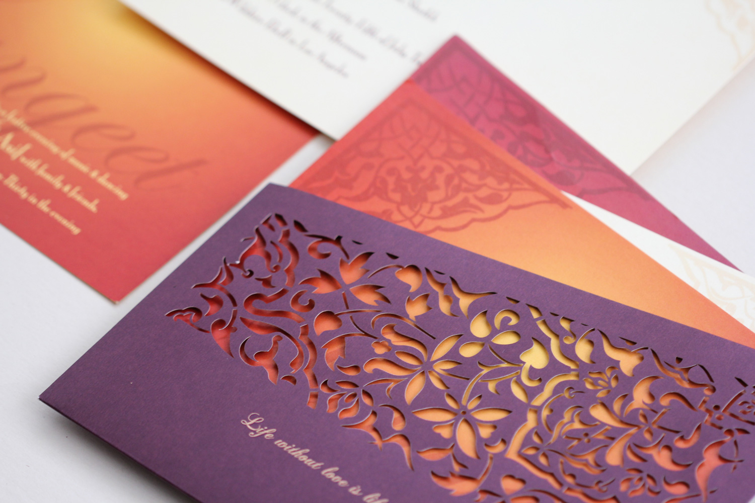 purple jali design invitation