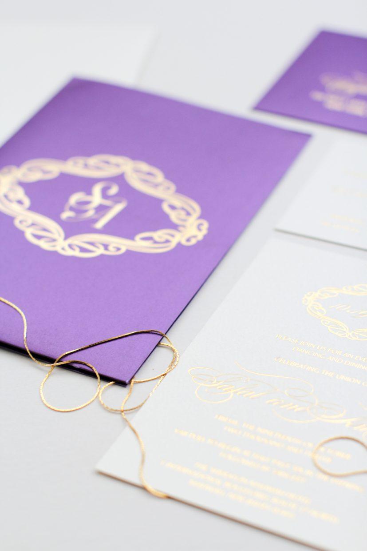 purple silk folio with gold foil pressed