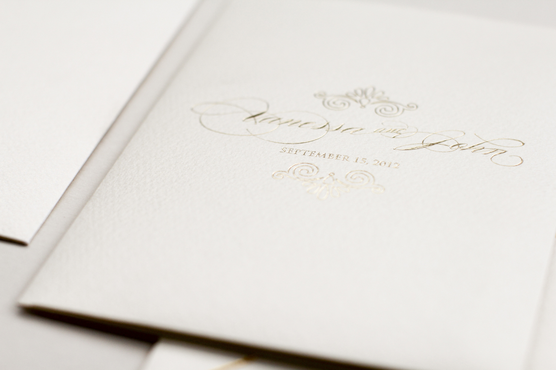 gold foil pocket invitation with seashell inspired motif | AZURE