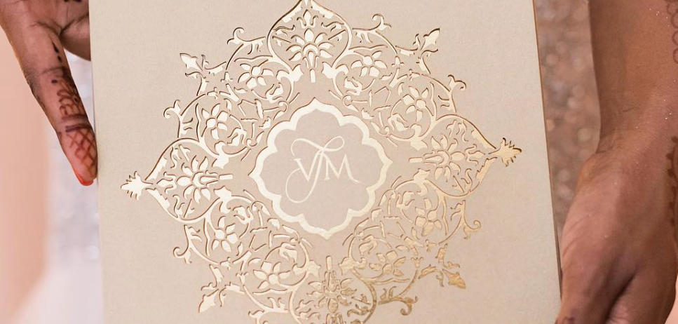 monogram on lasercut invitation