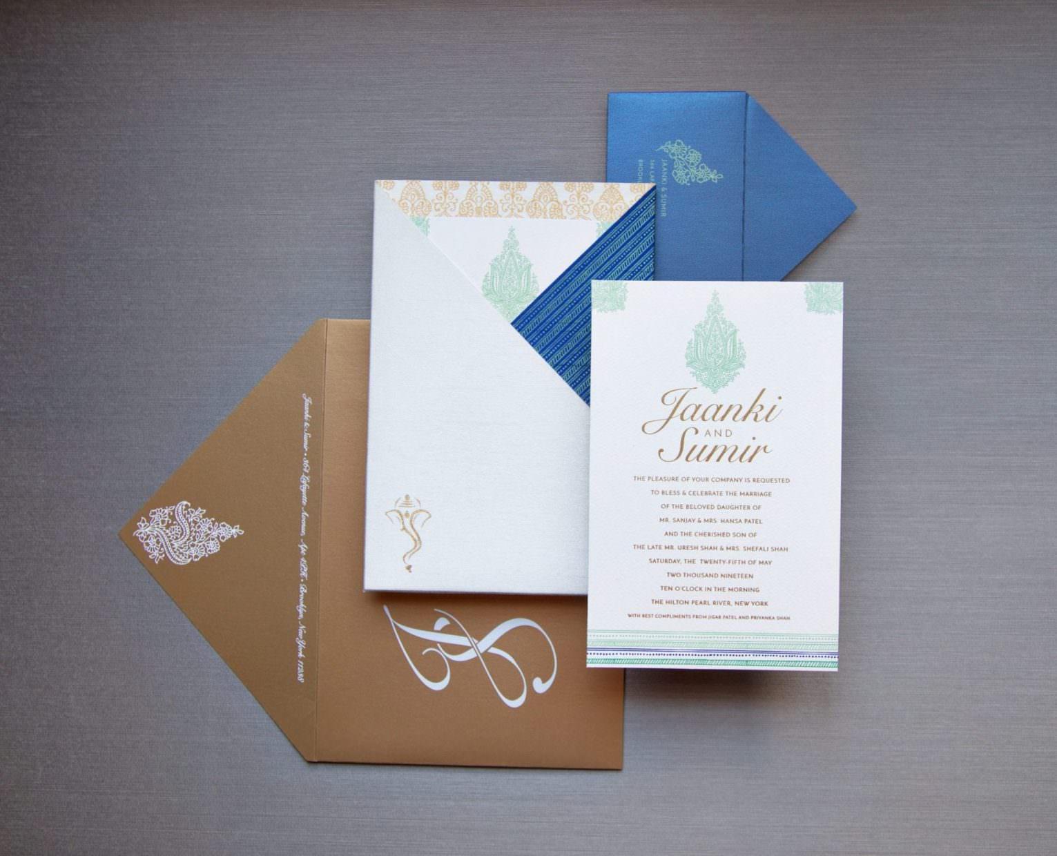 Raw Silk Pocket with custom printed invitation for Indian Wedding