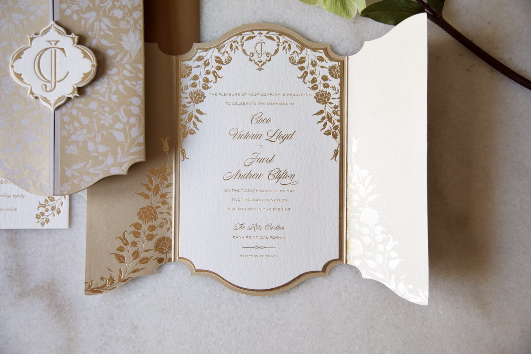 romantic gold foil botanic invitation on thick paper