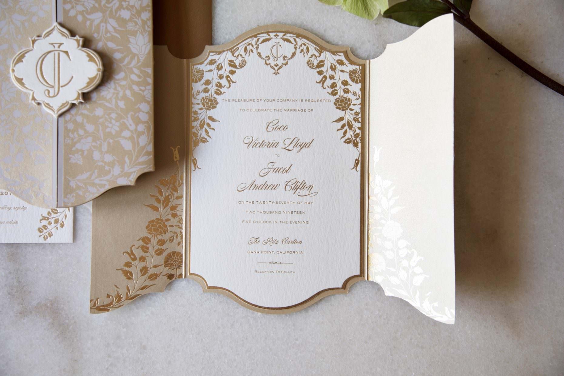romantic gold foil botanic invitation on thick paper