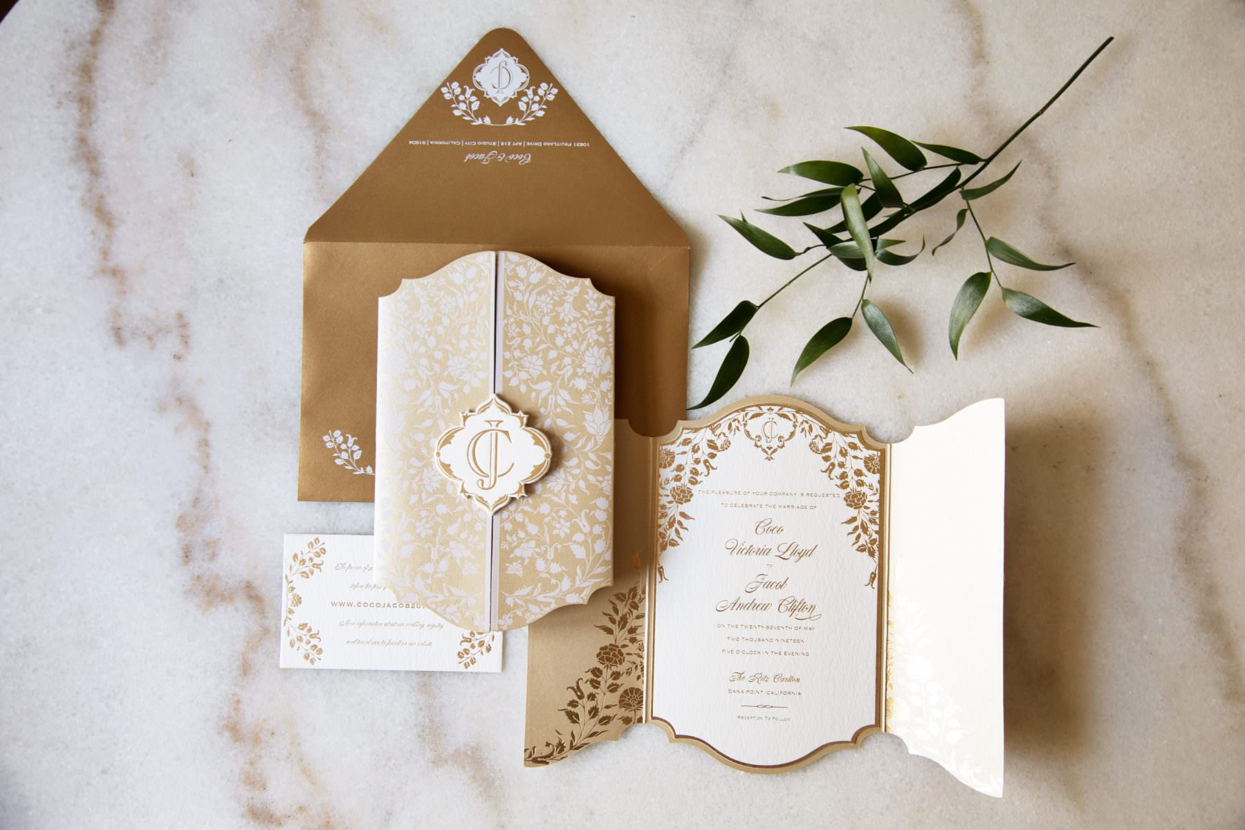 romantic gold foil botanic invitation with neutral colors and white