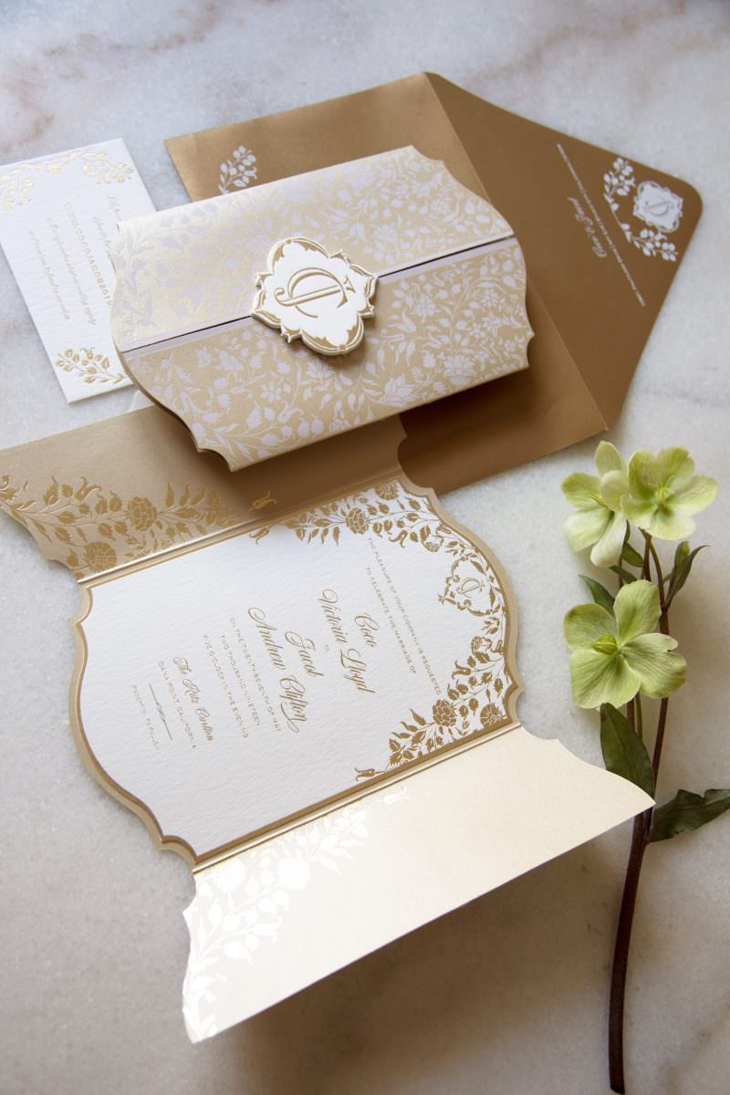 Custom Wedding Invitation With Gold Foil and White Printing