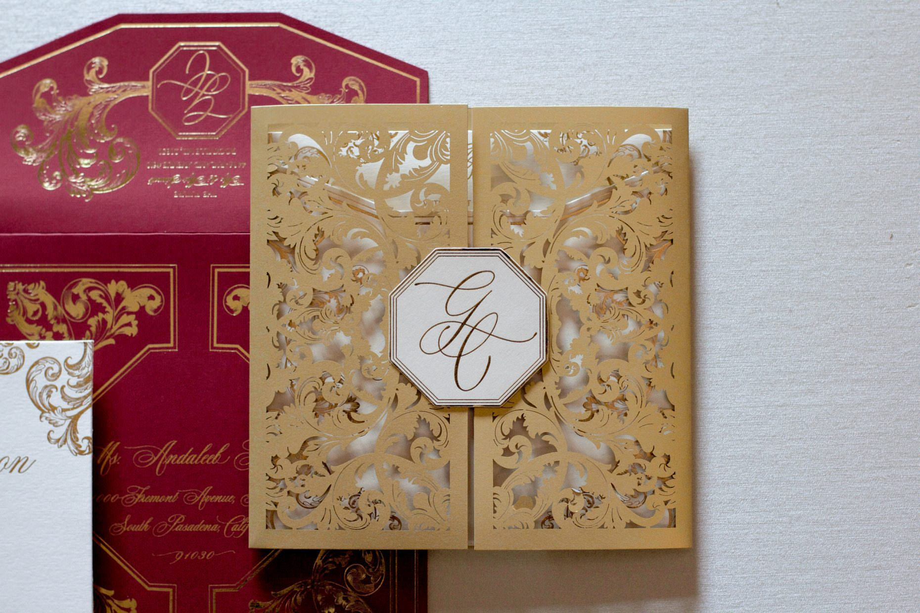custom ornate Laser cut wedding invitations