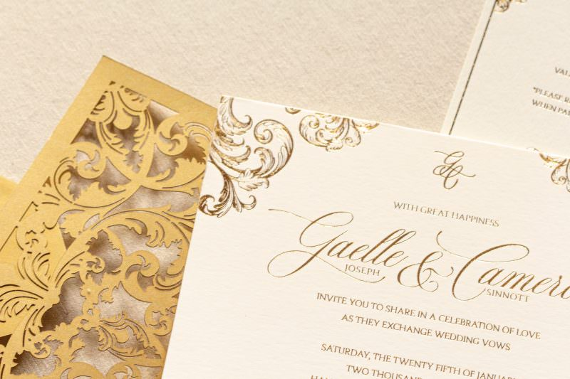 Gold Foil Invitation details