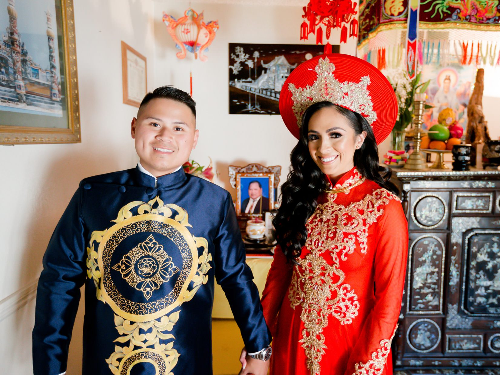beautiful multicultural bride and groom Ao Dai
