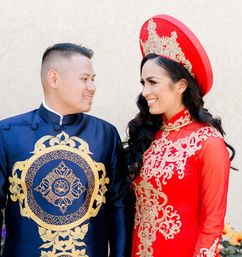 bride and groom in traditional Ao Dai
